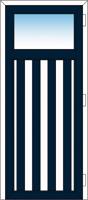 Cadre Bleu Acier, planchettes Bleu Acier et Blanc 9016