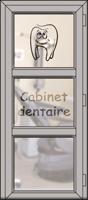 Cadre Decoroc Aluminium Blanc et Vitrage sablé avec motif séparé par deux traverses
